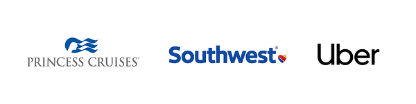 princess cruises, southwest, uber logos