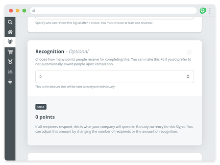 Screenshot of Bonusly Signals admin interface that shows a module where survey makers can set up automated recognition for survey takers if they want to