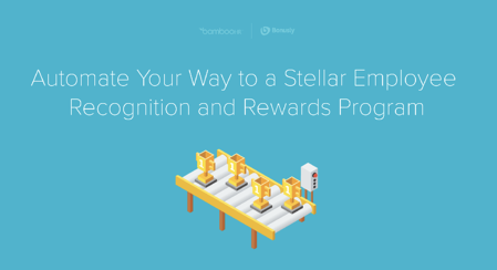 """Illustration of gold trophies on a conveyor belt with the BambooHR and Bonusly logos above it and the words """"Automate Your Way to a Stellar Employee Recognition and Rewards Program,"""" which is the title of the webinar recording that this link points to"""