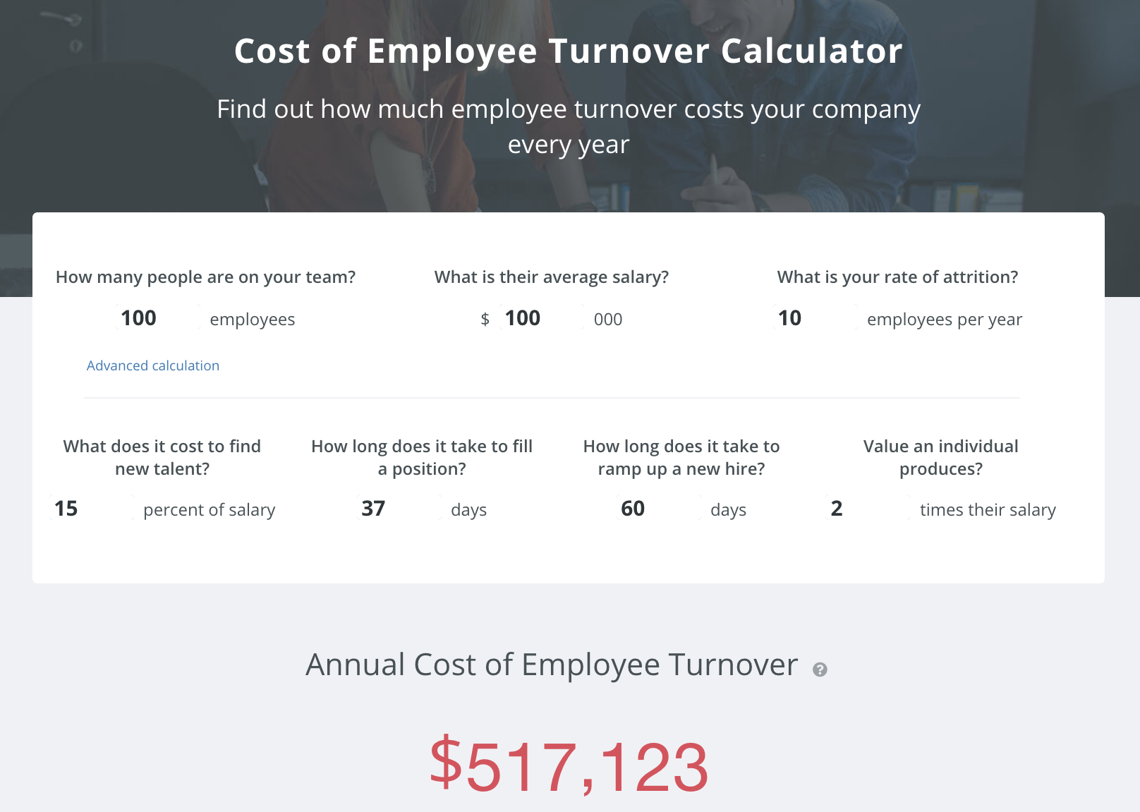 cost of turnover calculator sample-1