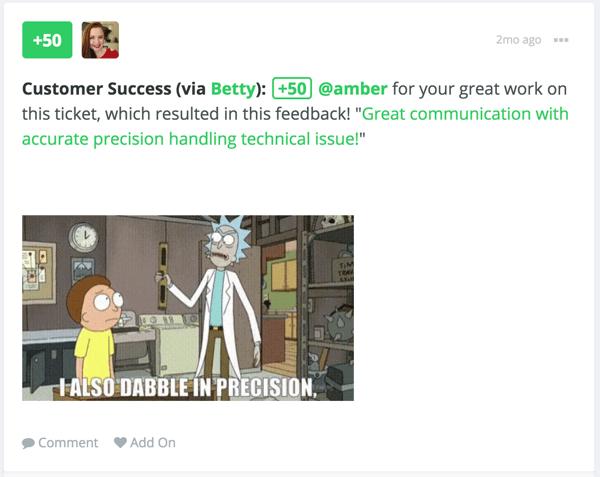 Screenshot of a Bonusly Customer Success Award accompanied by a Rick and Morty GIF