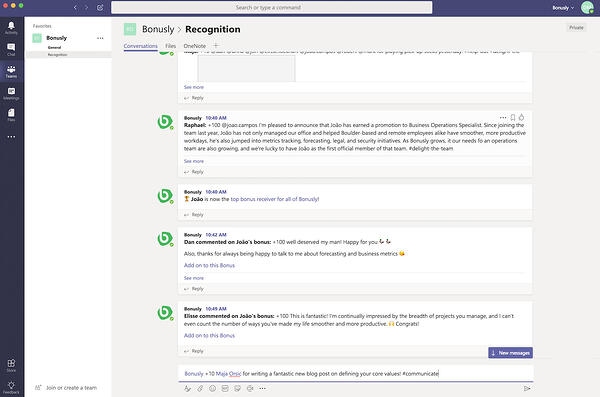 Screenshot of Bonusly messages in a Microsoft Teams channel