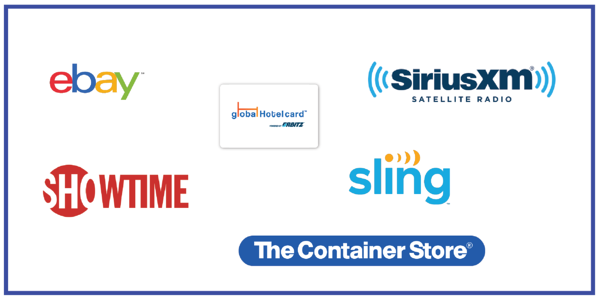 US brands now available in the Bonusly Reward Catalog: eBay, SHOWTIMEⓇ, The Container Store, Sling TV, SiriusXM Radio, Global Hotel Gift Card powered by Orbitz