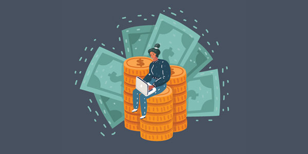 woman-sitting-on-pile-of-money