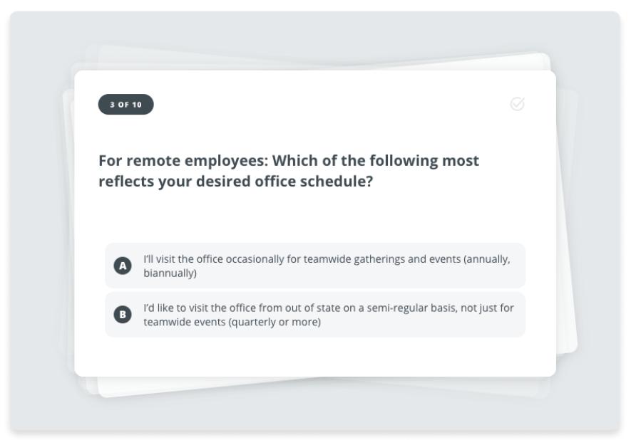 Bonusly Signals return to work survey question