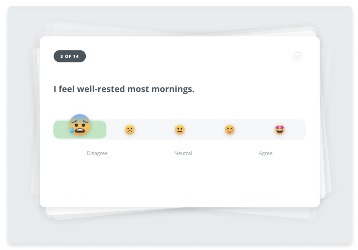 """Screenshot of employee wellness survey question that reads """"I feel well-rested most mornings"""" with an emoji scale that spans from Disagree to Neutral to Agree"""
