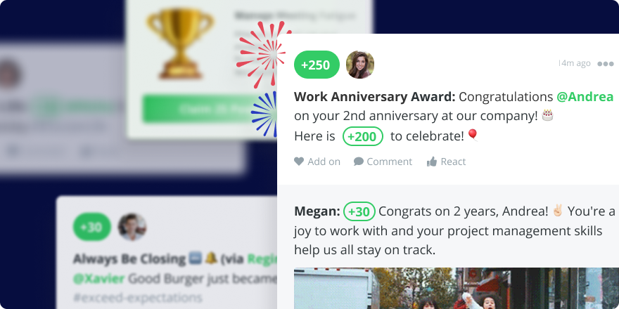 Examples of employee incentives and awards in Bonusly, including recognition for a work anniversary and closing a deal