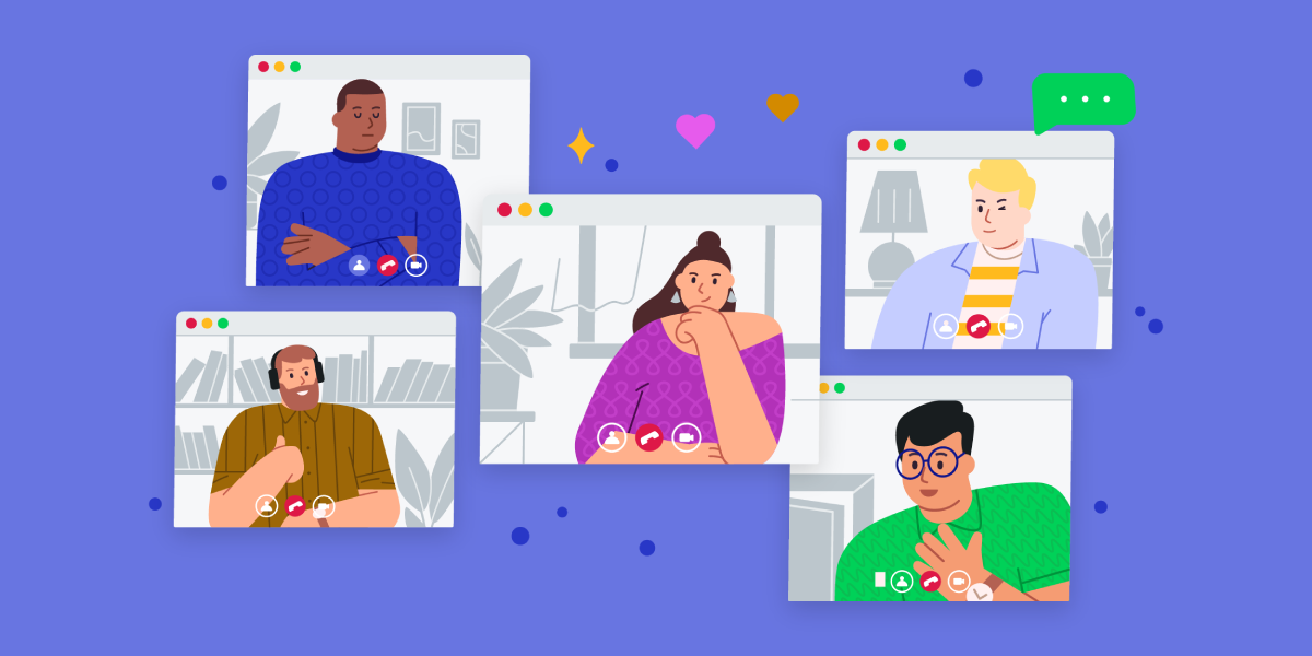 Playful illustration depicting five coworkers on a video call together