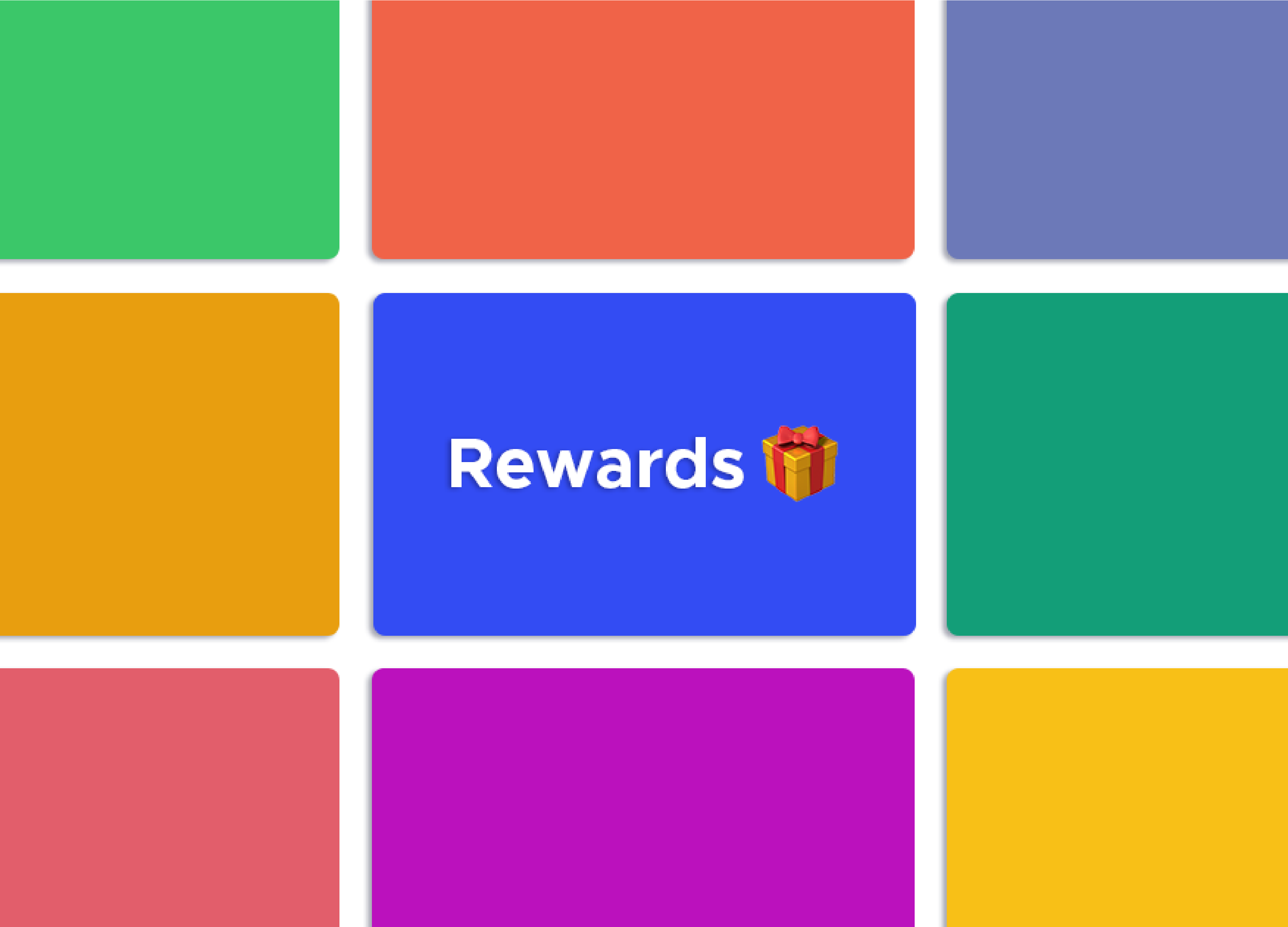 "Colorful squares are the background of the headline that reads ""Rewards"""